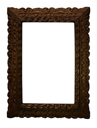 Dark Cedar wood carved frame (Large: Ext. 16x12 inch; Int. 12x8 inch)