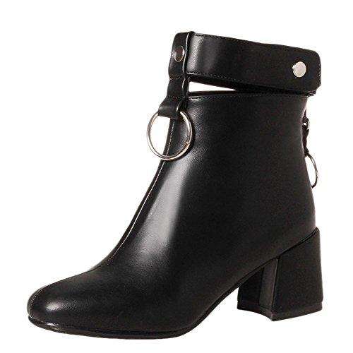 Charm Foot Womens Fashion Zipper Cinturino Alla Caviglia Chunky Tacco Alto Stivaletti Neri