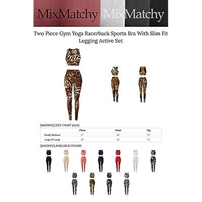 MixMatchy Women's Sports Gym Yoga Workout Activewear Sets Tank Crop Top & Capri Leggings Set: Clothing
