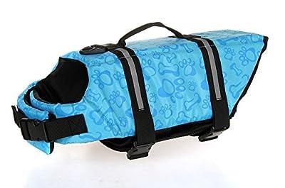 ZM PETTM Doggy Life Jacket Saver Preserver Safety Vest Doggy Flotation Device, Blue Bone