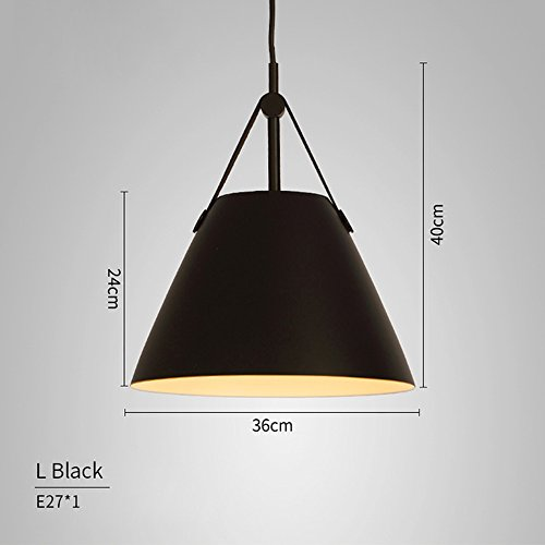 LED Pendant Lights E27 Hanging Kitchen Lamp Morden Dining Light With Metal Lampshade Bulbs Iron Suspension White,Black,Gray Lighting For Dining Room Chandelier (Color : Black, Size : 36cm)