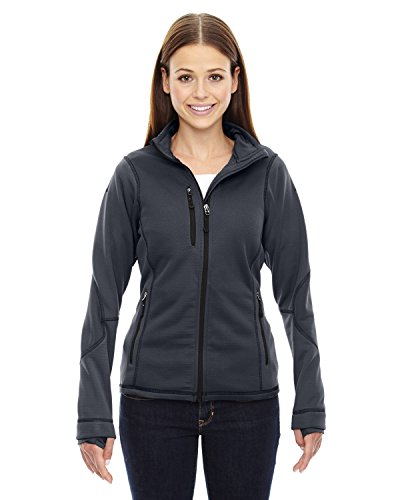 Ladies North End - North End Ladies Pulse Textured Bonded Fleece Jacket, Large, Carbon 456