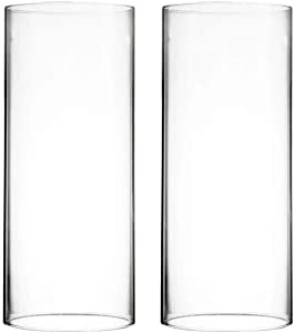 "CYS EXCEL Various Size Hurricane Candleholders, Chimney Tube, Glass Cylinder Open Both Ends, Open Ended Hurricane, Candle Shade, Glass Shade Candleholders Set of 2 (4"" Wide x 9.5"" Tall)"