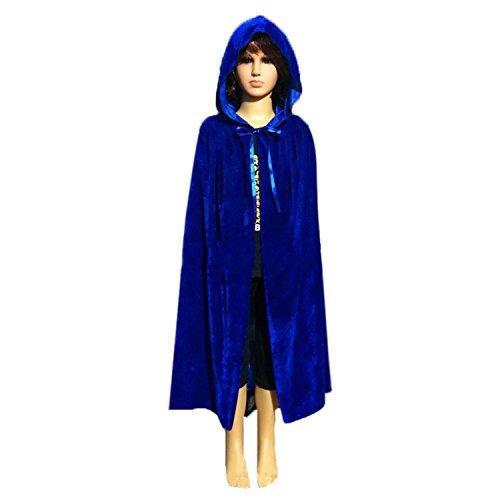 Unisex Kids Hooded Cloak Cape Party Role Play Costume Christmas Decoration Velvet Hooded Cloak Costumes (Large(100cm /39.37 inches), Blue) (Cloak Velvet Hooded Unisex)