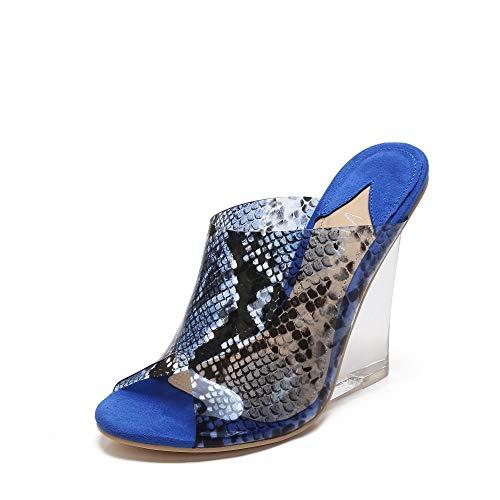 MACKIN J 405-8 Women's TPU Lucite Clear Wedge Heel Open Toe Platform Sandal Slip On Mule Dress Shoe with Snake Painting Color (7.5, Blue)