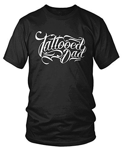 Dad Tattoo Tee (Amdesco Men's Tattooed Dad, Dad With Tattoos T-shirt, Black XL)