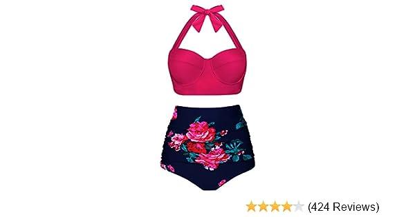 f880203986 Amazon.com  UniSweet Women Vintage Polka Dot High Waisted Bikini Set Two  Piece Swimsuits (Womens Size)  Clothing