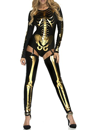COMVIP Halloween Sexy Hollow Skeleton Club Stretchy Catsuit Jumpsuit (Halloween Costume Ideas Gold Pants)