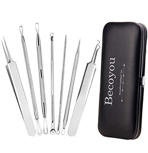 Becoyou 7 Pcs Pimple Popper Tool Kit, Stainless Steel Blackhead Remover Tool Blackhead Removal Tool Pimple Popping Kit Comedone Pimple Extractor Kit Zit Popping Kit with Leather Bag ()