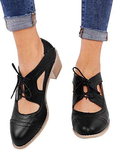 (Athlefit Women's Cut Out Ankle Boots Breathable Vintage Oxford Block Heel Pumps Size 9 Black)