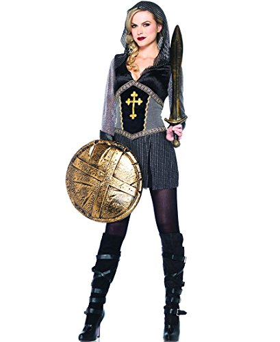 Joan Of Arc Costumes (Leg Avenue 85202 Joan Of Arc Medieval Halloween Costume - Black/Silver - Medium)
