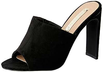 BILLINI Women's DESANA Block Heel Mule, Black Suede, 10 AU