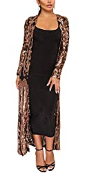 Black Long Sleeve Sequins Open Front Cardigan Coat