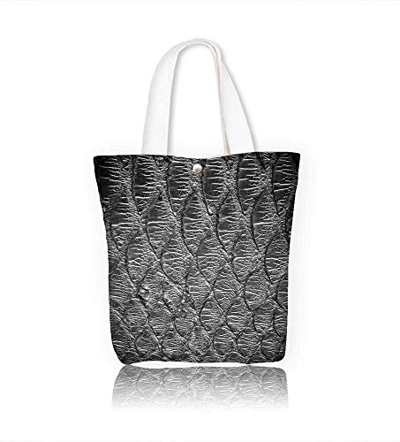 canvas tote bagBlack python leather skin texture for reusable canvas bag bulk for grocery,shopping W14xH15.7xD4.7 INCH
