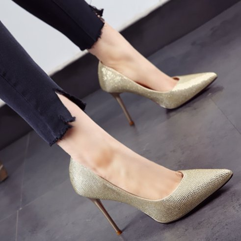MDRW Drill Shoes 35 Sharp Heels Banquet Mouth Shallow Shoes Elegant Leisure Heel Fine Lady Wedding Champagne 10Cm Head Spring Single Color Work Wedding Water Shoes q1OqSw4r