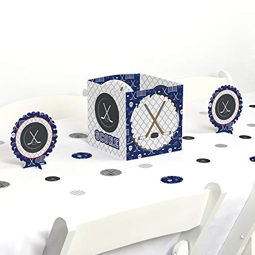 Big Dot of Happiness Shoots & Scores! - Hockey - Baby Shower or Birthday Party Centerpiece & Table Decoration -