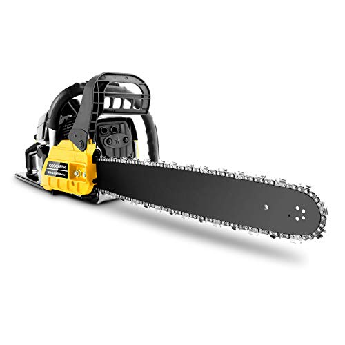 Tinfancy 20 Inch Gas Chainsaw 62CC 2-Stroke Gasoline Powered Chain Saw with Tool Kit for Cutting Trees, Wood, Yellow