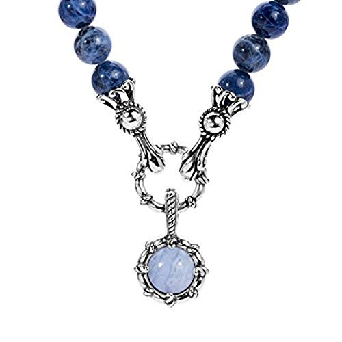 Carolyn Pollack Sterling Silver Blue Sodalite, Blue Lace Agate, Hematite, and Blue Agate Gemstone Beaded Necklace 18 Inch