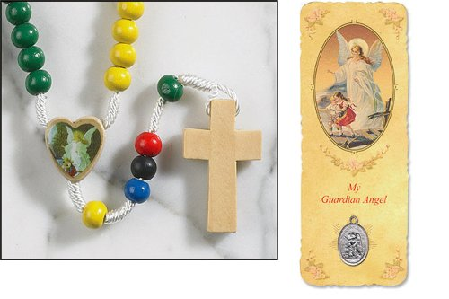 Guardian Angel Wood Rainbow Franciscan Knotted Rosary Free Bookmark with Guardian Angel Silver Oxidized Medal Blessed By Pope - Guardian Pc Wood
