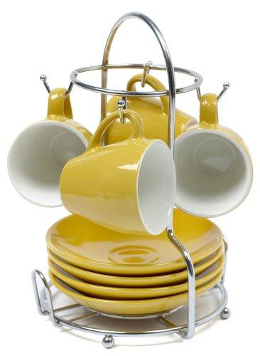 IMUSA, A120-22178, Espresso Set with Rack, 8 Piece, Yellow (Imusa 8 Piece Espresso Set With Rack)