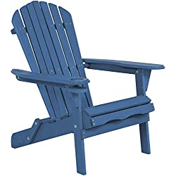 Best Choice Products Outdoor Patio Folding Wooden Adirondack Chair W/ Cup Holder- Blue