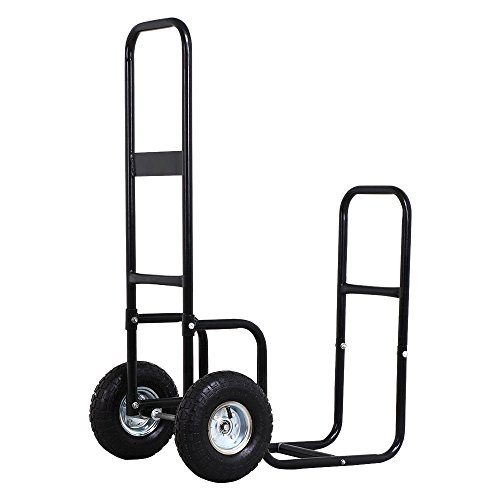Price comparison product image Firewood Log Rack Cart Carrier Trolley Wood Mover Hauler Fireplace Wood Fire Storage Rack Steel Pneumatic Tires Dolly Holder