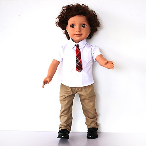 18 inch Boy Doll Clothes Back to School Outfits,Short Sleeve Cotton Shirt & Khaki Pants Outfit for 18 inch Boys or Girls.