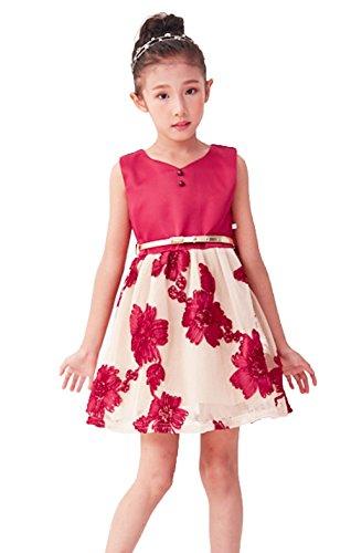 Formal Dresses for Girls Holiday Dresses for Kids Girls Dresses Size 8 8-9 Girls Gown Spring Dresses for Girls Stain Dress for Girls (Burgundy, 8) -