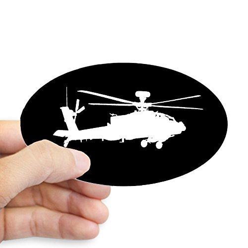 CafePress U.S. Army: AH-64 Apache Helicopter Oval Bumper Sticker, Euro Oval Car - Apache Helicopter Decal