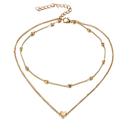 Keliay NEW Fashion Women Multilayer Love Heart Pendant Necklace Chain Jewelry Best for Gift (Two Tone Snake Necklaces Pendants)