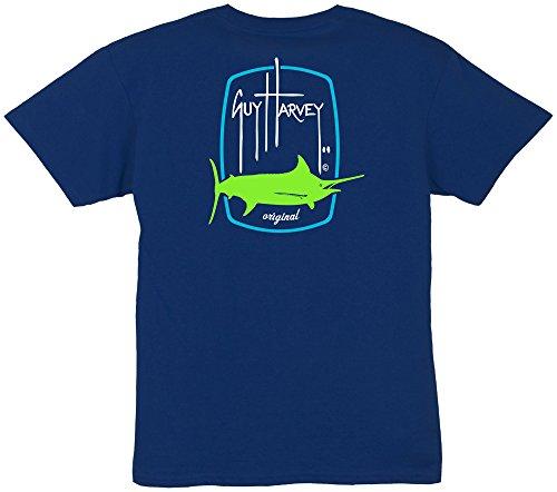 Guy Harvey Big Boys Barrel Logo T-Shirt Large (14-16) Dark blue -