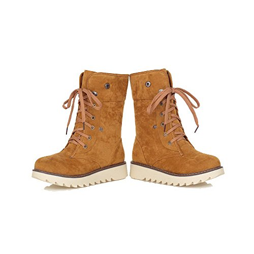 Frosted Toe Women's Heels Round Low Top Lace Boots Yellow Closed Low up Allhqfashion 6YAqxw5OO