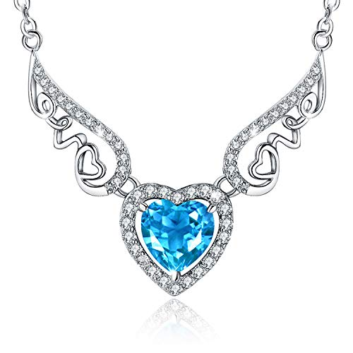 - S925 Sterling Silver Angle Wing Blue Love Heart Birthstone Pendant Necklace Jewelry Gifts for Women Girls
