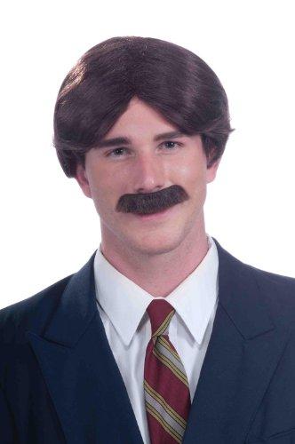 Mr. 70s Wig & Moustache Set - Ron Burgundy Costume Wig