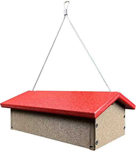 JCs Wildlife Recycled Upside Down Double Suet Feeder Lt. Brown W/ Cardinal Red Roof