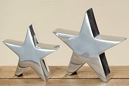 2x Deko Objekte Aufsteller Stern aus Aluminium Farbe silber Dekoration