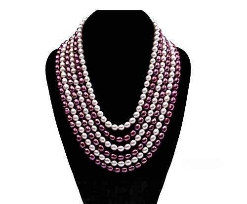 JYX Pearl Necklace Six-Strand White and Purple Oval Freshwater Pearl Necklace for Women 17-23inch
