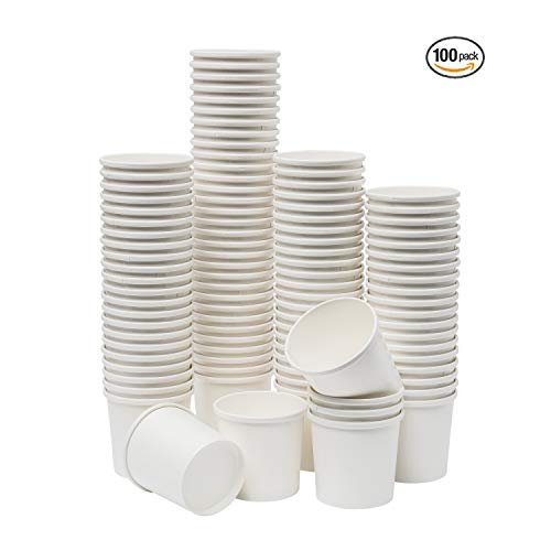 Paper Soup & Ice Cream Cups, Paper Disposable Dessert Bowls for Hot or Cold Food, Party Supplies Treat Cups (100 Count, White) (16 oz)