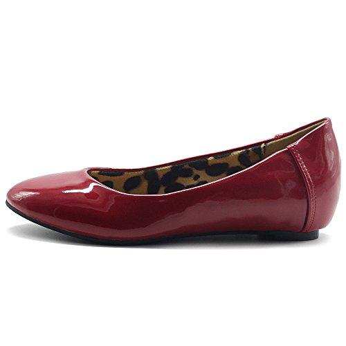 Ollio Scarpa Da Donna In Vernice Con Smalto Su Basetta Leggera Comfort A Basso Tallone Nascosto Rosso Scuro