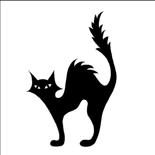 Halloween Scared Cat Decal Sticker Removable Wall Art, (Cat Halloween Scared)