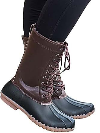 Amazon.com: Womens Lace up Duck Boots Waterproof Low Heel