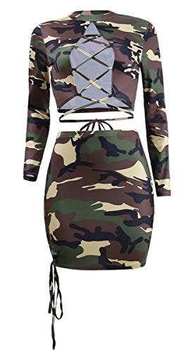 Mini Dress See Club Lace Tunic Bodycon Camo Pieces Sexy Through Party Women's up 2 Chemenwin Outfit 7qv0U66F