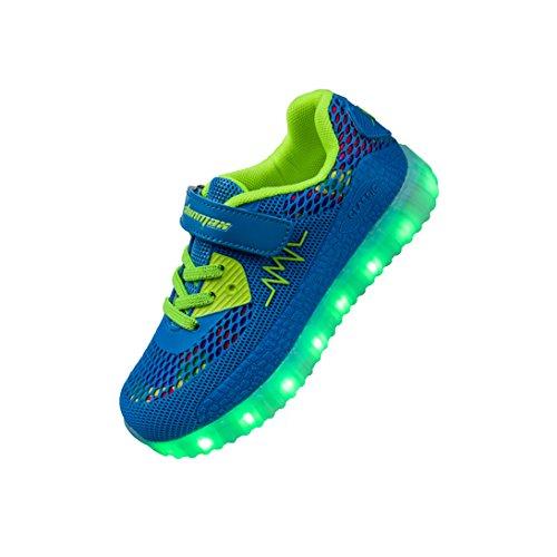 LED Zapatos,Shinmax Primavera-Verano-Otoño Transpirable Zapatillas LED 7 Colores Recargables Luz Zapatos de Deporte de Zapatillas con Luces Para Niños Niñas con CE Certificado azul