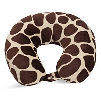 World's Best Feather Soft Microfiber Neck Pillow, Giraffe Print, Neck-support Travel Pillow