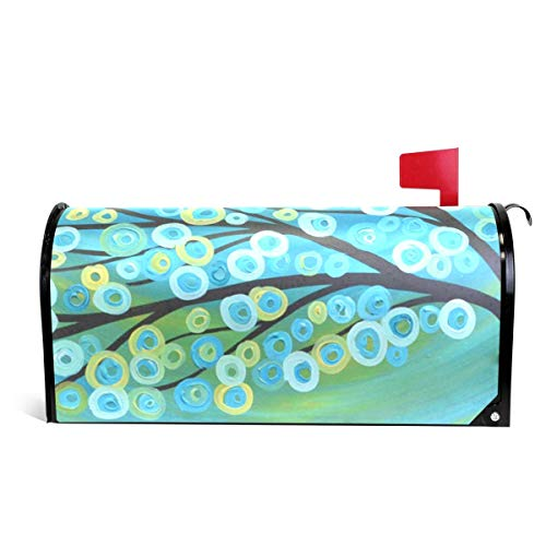Siwbko Magnetic Mailbox Cover Blue Dot Tree Decoration for House Garden