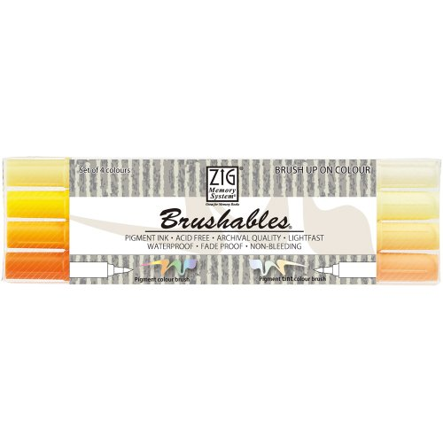- Zig Memory System Brushables Dual Tip Markers, Yellow