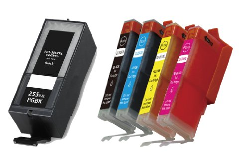 HI-VISION® 5 PK Compatible Canon PGI-255XXL Extra High Yield Lg Black, CLI-251XL Black,Cyan,Yellow,Magenta Ink Cartridges Replacement for PIXMA iX6820,MX722,MX922 Inkjet Office All-In-One printers
