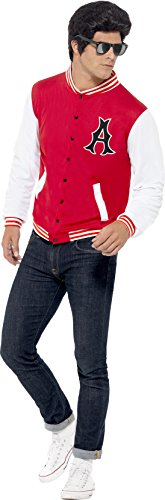 Smiffy's Men's 50's College Jock Letterman Jacket, Multi, Large (Mens 50s Costumes)