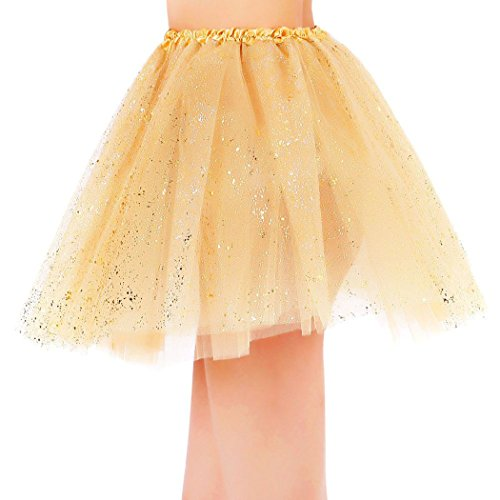 Womens Sparkly 3 Layered Colored Fairy Princess Tutu Tulle Skirt Golden Tutu by Siero