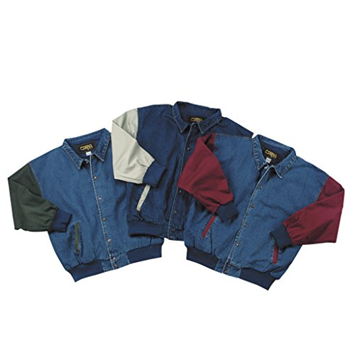 (Cotton-Washed Vintage Denim Ranger Jacket with Contrasting Sleeves (Small, Khaki/Denim))